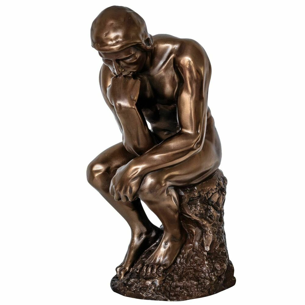 skulptur der denker nach rodin mann figur statue antik stil 21cm ebay. Black Bedroom Furniture Sets. Home Design Ideas