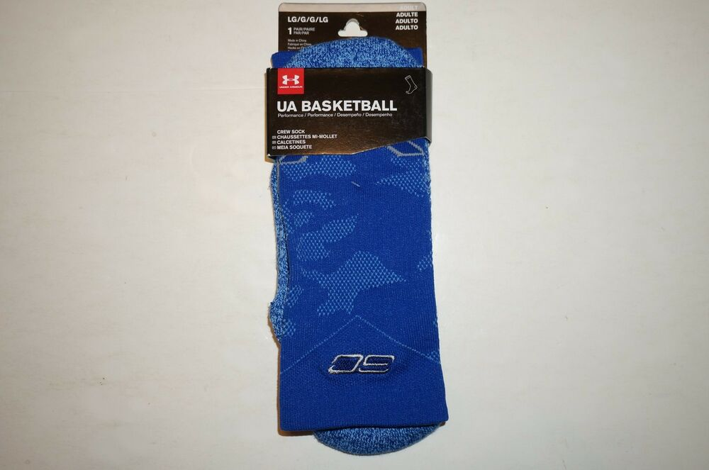 14281ccff Details about UNDER ARMOUR SC30 DRIVE BASKETBALL CREW SOCKS BLUE WARRIORS  CURRY 1292879-401