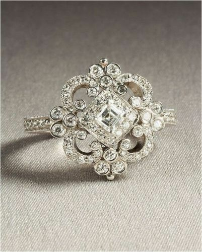 High Quality ANTIQUE VINTAGE ART DECO WEDDING ENGAGEMENT RING 14K WHITE GOLD OVER 925  SILVER Great Pictures