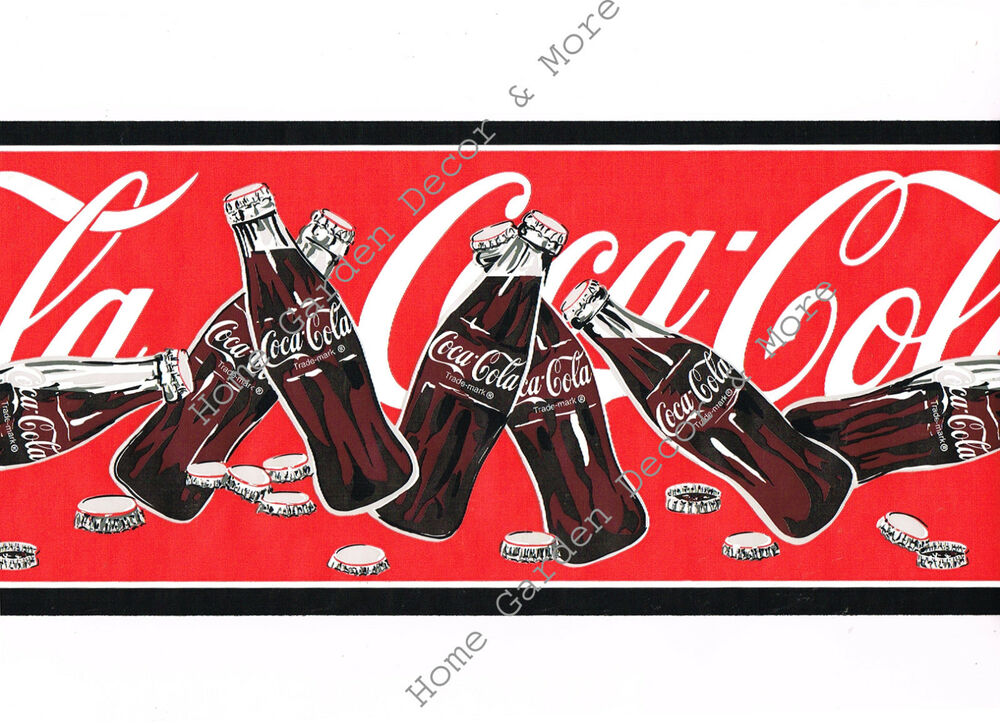 Genuine vintage red coca cola coke soda bottles caps wall paper border roll 82327587884 ebay - Vintage coke wallpaper ...