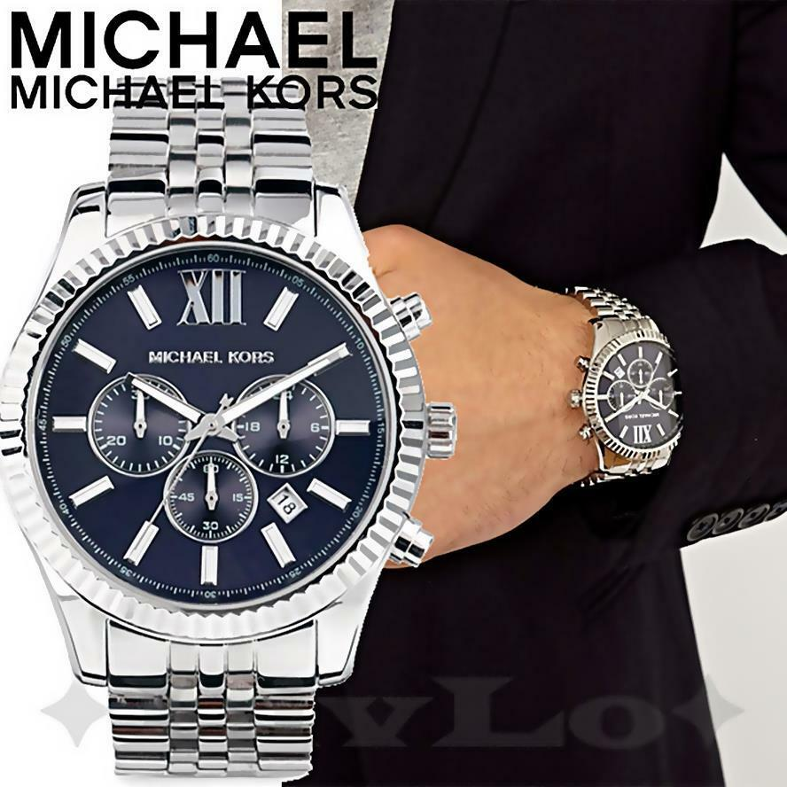 original michael kors uhr herrenuhr mk8280 lexington chrono silber blau neu ebay. Black Bedroom Furniture Sets. Home Design Ideas