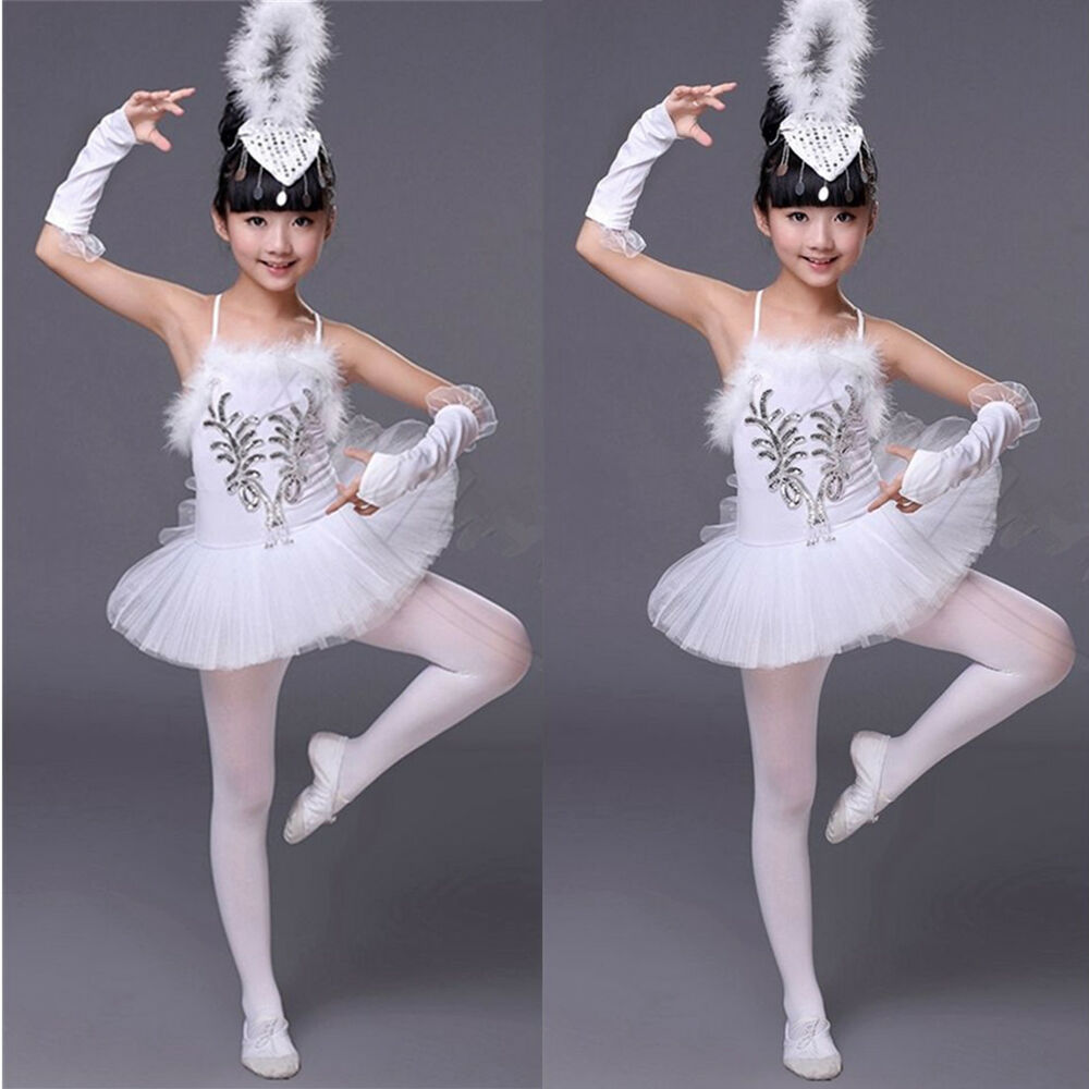 m dchen kinder wei tutu rock ballettkleidung im set ballettanzug ballett trikot ebay. Black Bedroom Furniture Sets. Home Design Ideas