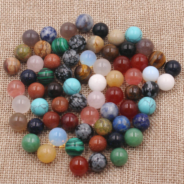 wholesale 50pcs/lot Assorted natural stone round ball shape no hole beads 10mm