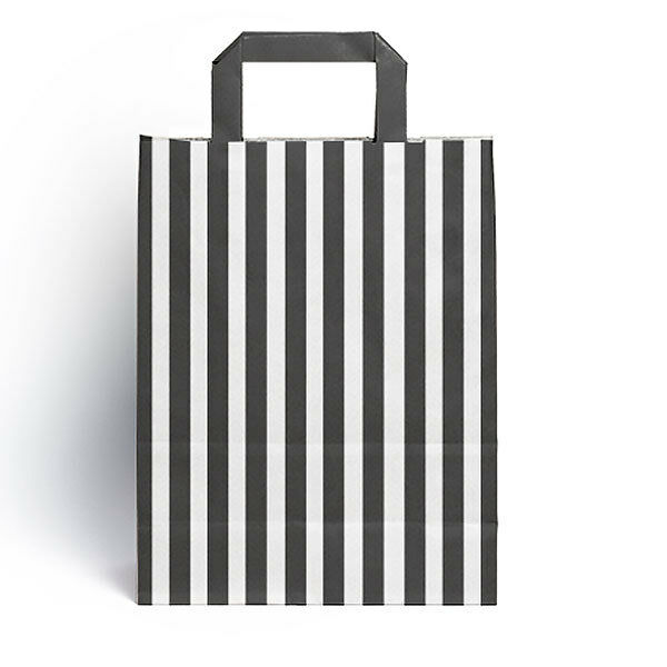 25 X Black Candy Stripe Paper Party Gift Bags With Handles 18cm X