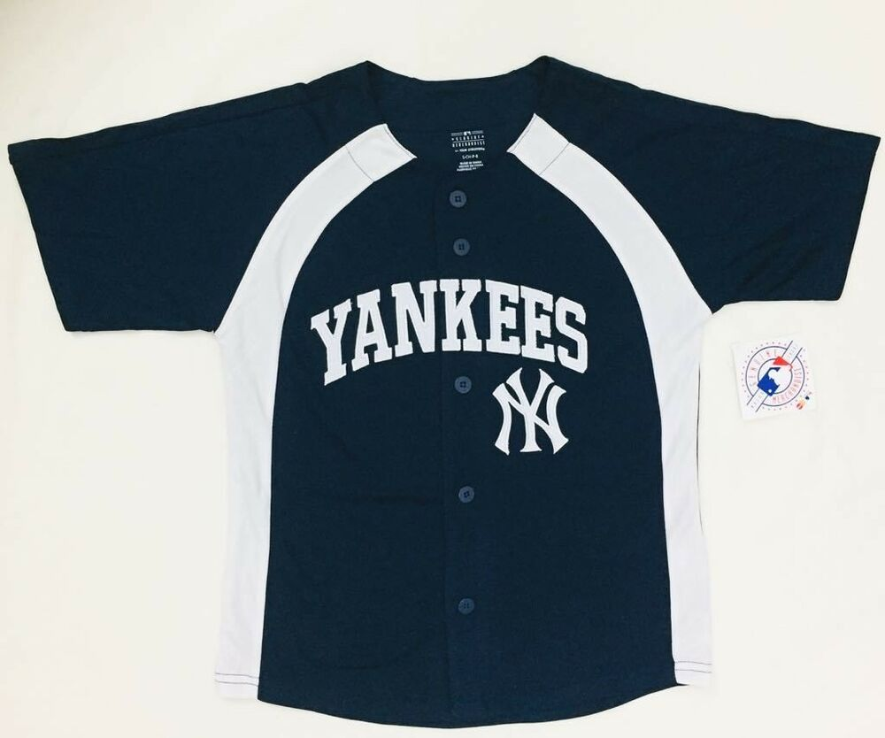 c7f148f73 Details about NY Yankees Genuine Merchandise MLB T-Shirt Jersey YOUTH S/M/L/XL  Tee Navy & Grey