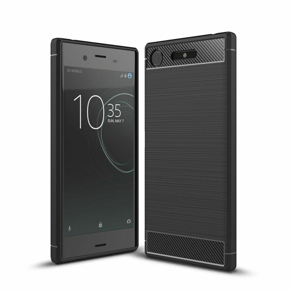 sony xperia xz1 handy h lle tpu case carbon fiber motiv schutz cover schwarz neu ebay. Black Bedroom Furniture Sets. Home Design Ideas