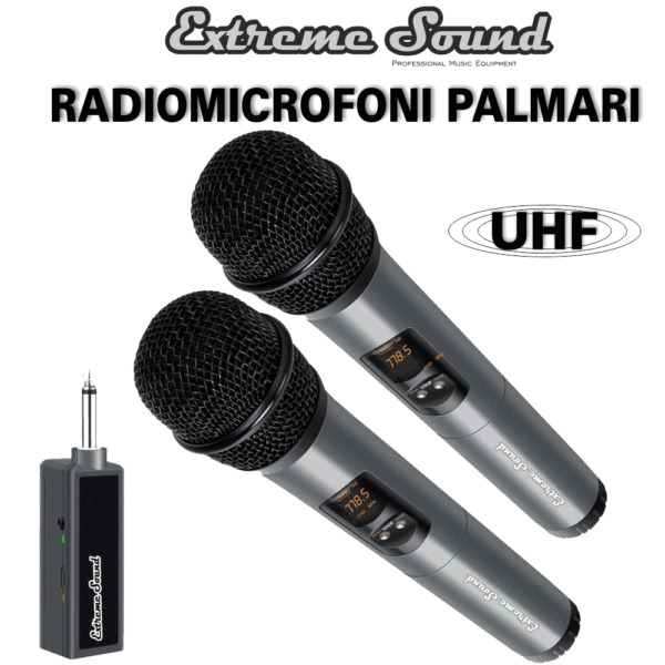 KIT 2 Radio Microfoni A GELATO VHF EXTREME SOUND Senza Fili Wireless LWM-328