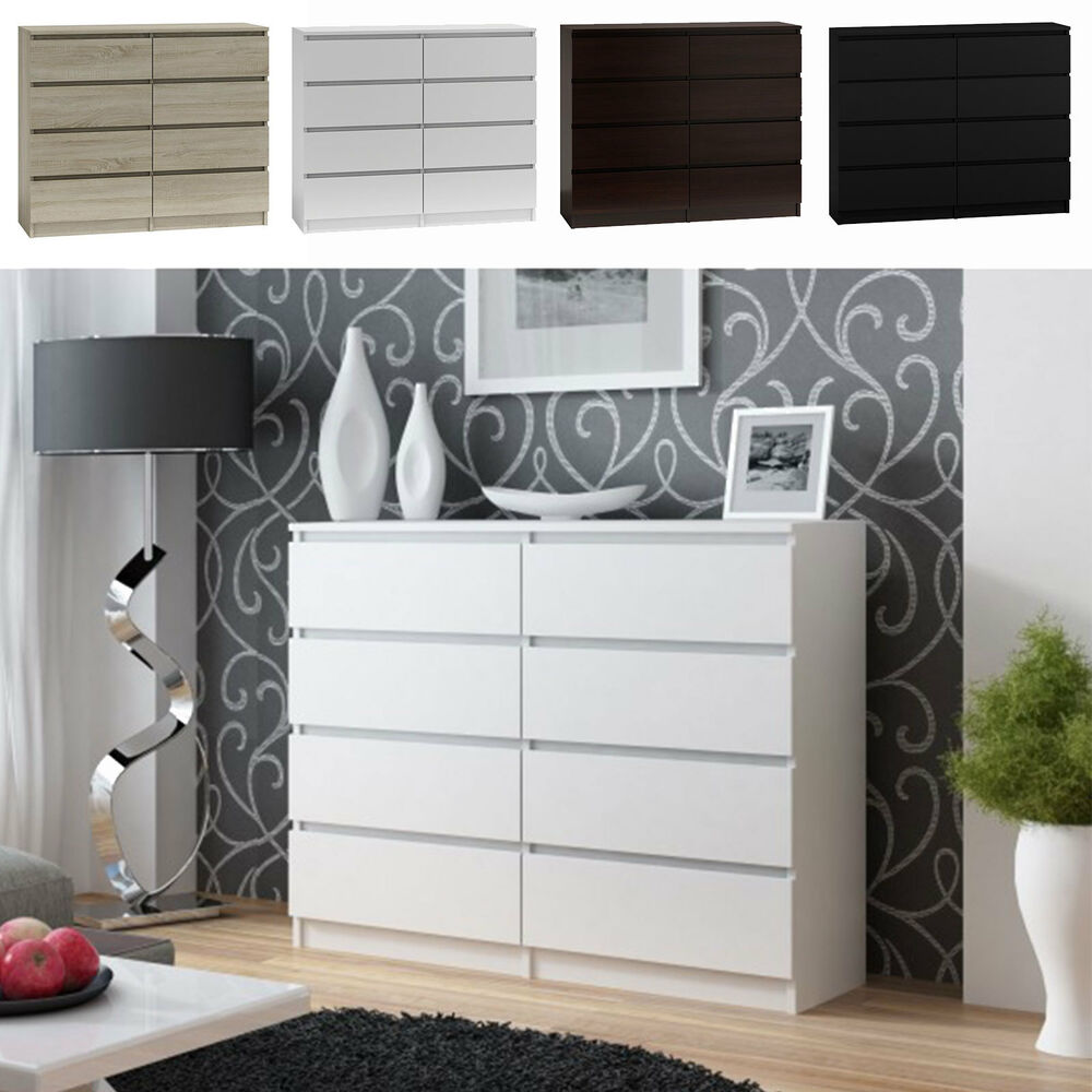kommode mit 8 schubladen 120cm schrank sideboard anrichte holz wei ebay. Black Bedroom Furniture Sets. Home Design Ideas