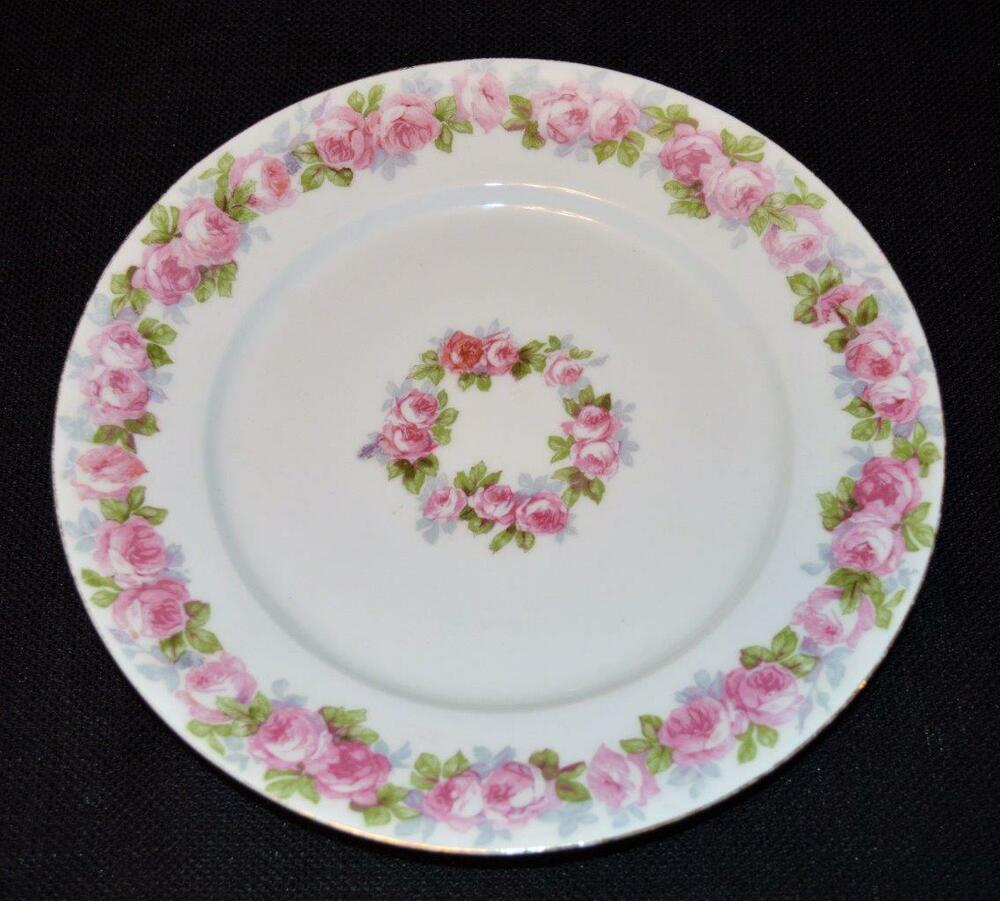 Antq W Guerin Limoges France Bone China Pink Roses 8 12d Salad