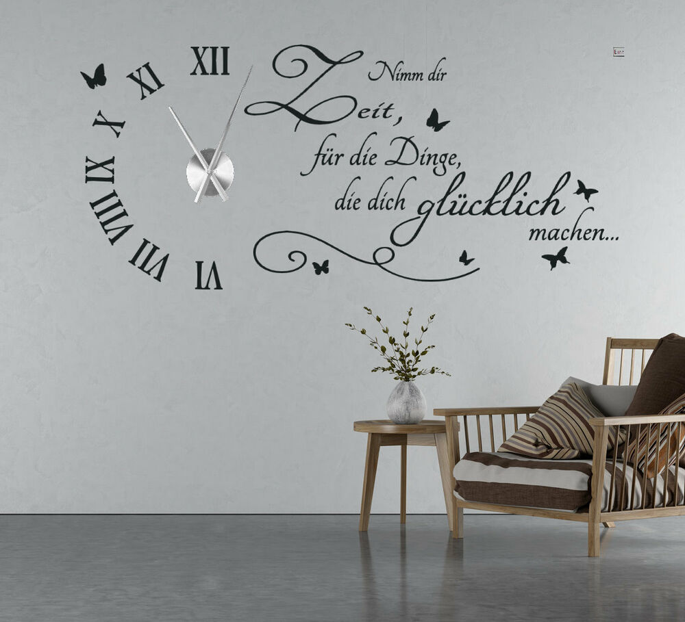 wanduhr wandtattoo uhr wohnzimmer wandsticker wandaufkleber spruch uhrwerk tku5 ebay. Black Bedroom Furniture Sets. Home Design Ideas
