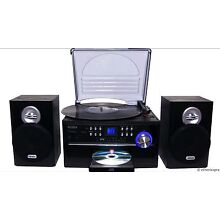 JENSEN HOME STEREO CD/CASSETTE/RECORD PLAYER TURNTABLE SYSTEM AMFM RADIO NEW