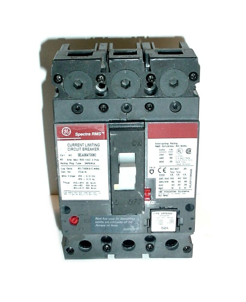 Ge Spectra Rms Sela36at0060 Industrial Current Limiting Circuit Breaker 60a 783164211467 Ebay