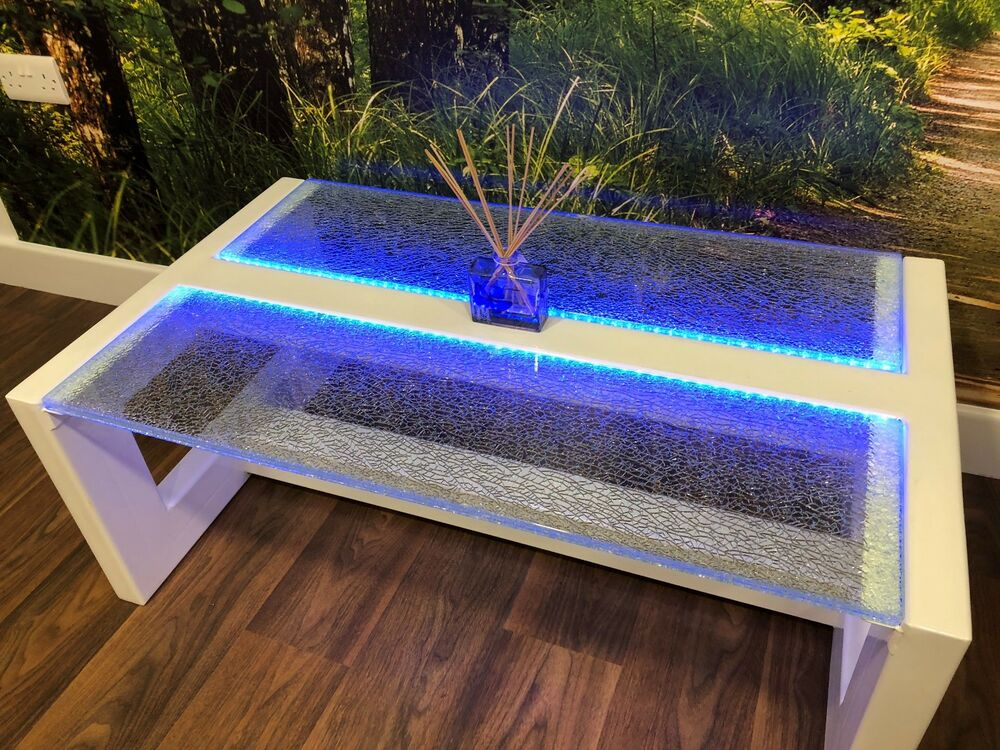 Modern Glass Coffee Table Led Lit Cracked Ice Crackle
