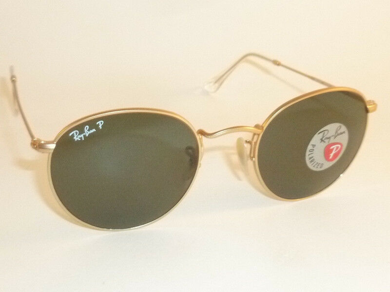3b4bd1c656e74 Details about New RAY BAN Sunglasses ROUND METAL Matte Gold RB 3447 112 58  Polarized Green