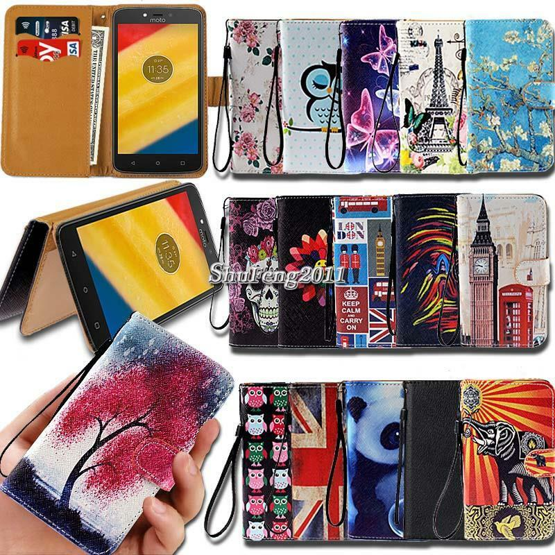leather wallet stand magnetic flip case cover for various