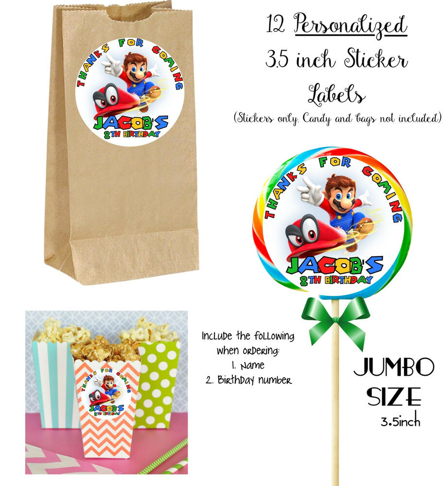 Details about 12 mario odyssey custom jumbo stickers for lollipops goody bags birthday party