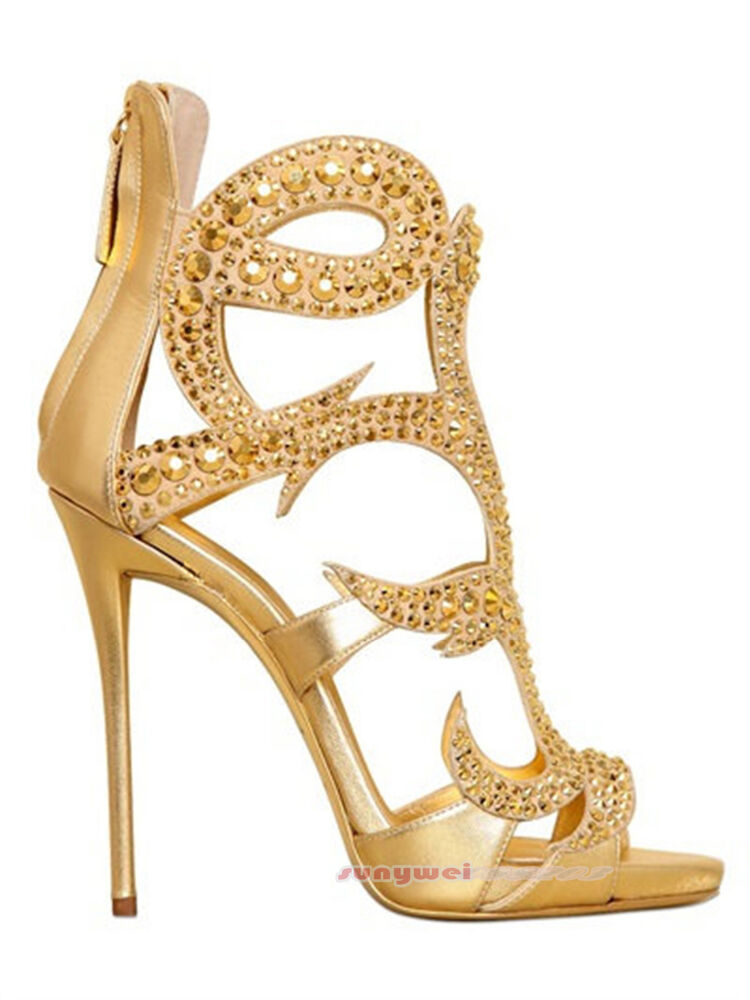 6f2f610e89badb Details about Siemo Women Rhinestone Decoration Peep Toe Cover Heel Sandals  High Heel Stiletto