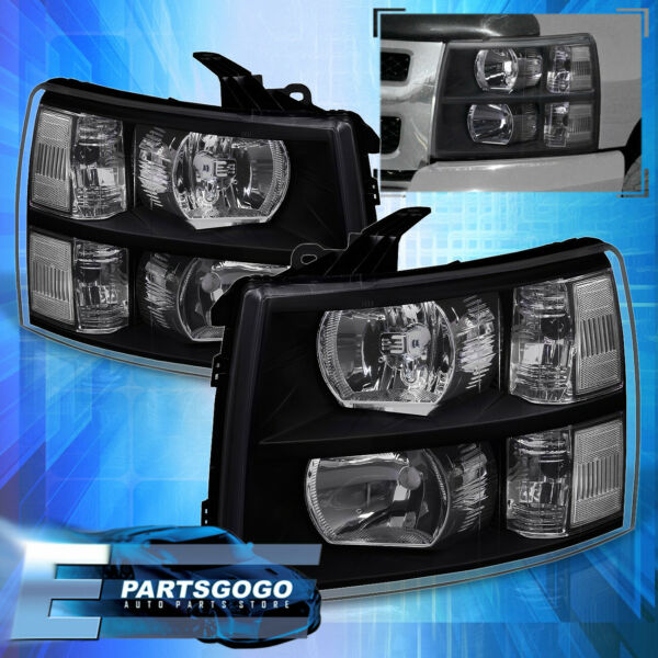 07-14 Chevy Silverado Direct Replacement Driving Head Lights Lamps Lh Rh Black