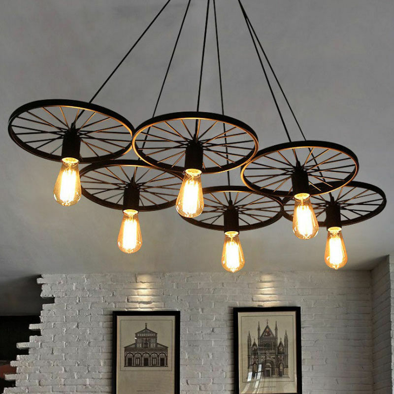 Kitchen Lighting Ebay: Chandelier Wagon Wheel Farmhouse Lighting Rustic Style Cabin Kitchen 6 Lights