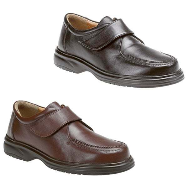 fdda0760763 Details about Roamers JADEN Mens Leather Comfy Wide E Fit Touch Fasten  Casual Office Shoes
