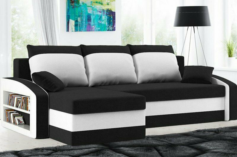 ecksofa mit schlaffunktion dreisitzer eckcouch mit bettkasten schwarz pink ebay. Black Bedroom Furniture Sets. Home Design Ideas