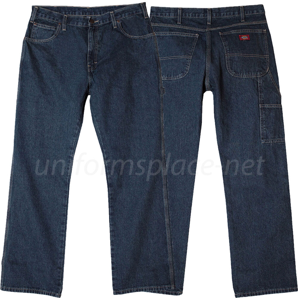 be47fa1a Details about Dickies Work Jeans Relaxed Fit Straight Leg Carpenter Denim  Jeans 19295