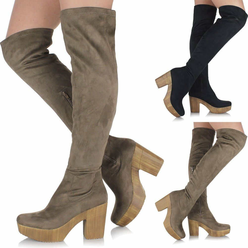 9114d44d6ff ... Details about Ladies Chunky Block Heel Long Over The Knee Thigh High  Platform Suede Boots 70 s ...