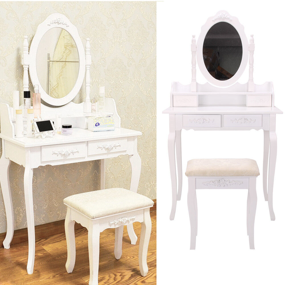 coiffeuse table de maquillage stockage miroir chambre vanit 4 tiroirs ebay. Black Bedroom Furniture Sets. Home Design Ideas