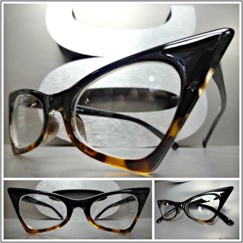 fcb5a1f6783 Details about CLASSIC VINTAGE RETRO CAT EYE Style Clear Lens EYE GLASSES  Black Tortoise Frame