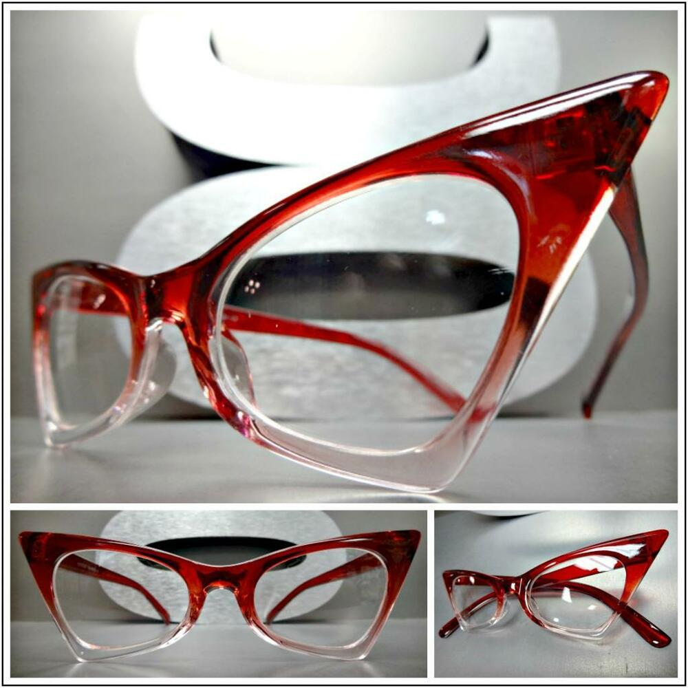 3a2be783d4c93 Details about CLASSIC VINTAGE 50 s RETRO CAT EYE Style Clear Lens EYE  GLASSES Small Red Frame
