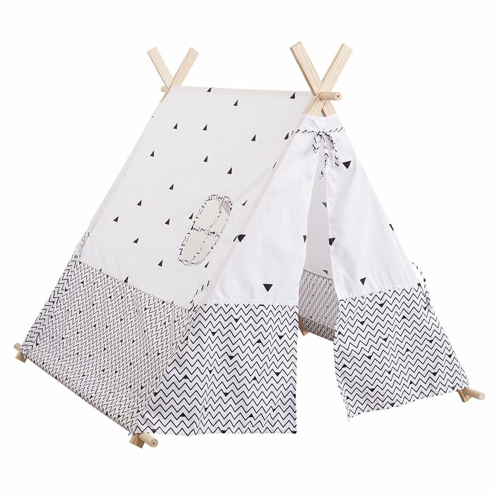 tente tipi deco enfant noir et blanc atmosphera for kids ebay. Black Bedroom Furniture Sets. Home Design Ideas