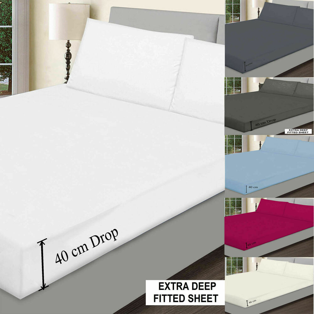 Plain Extra Deep Fitted Sheets Bed Sheets 40cm 16 Single 4ft