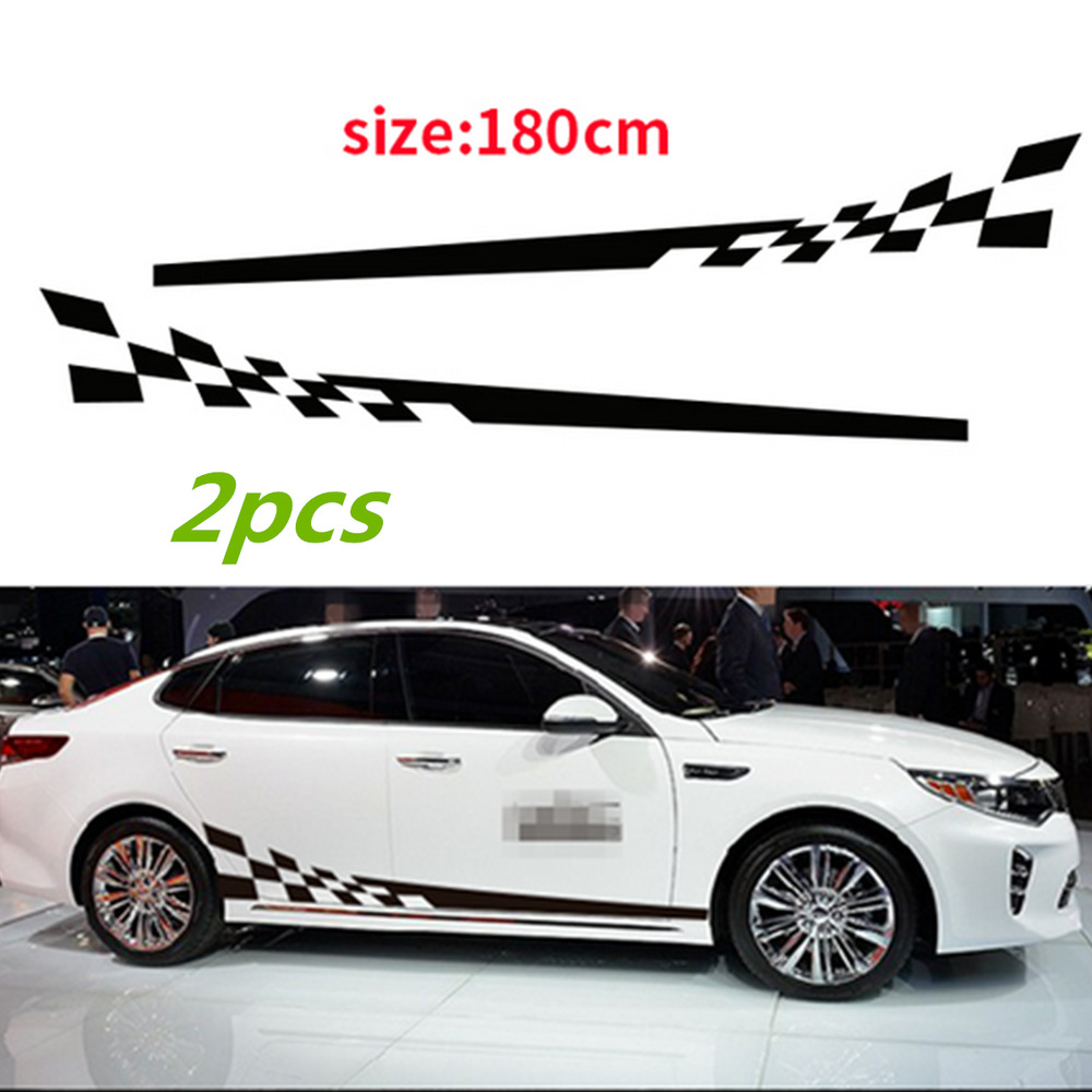 Details about 2pcs car decal vinyl graphics side stickers body decals generic stickers black