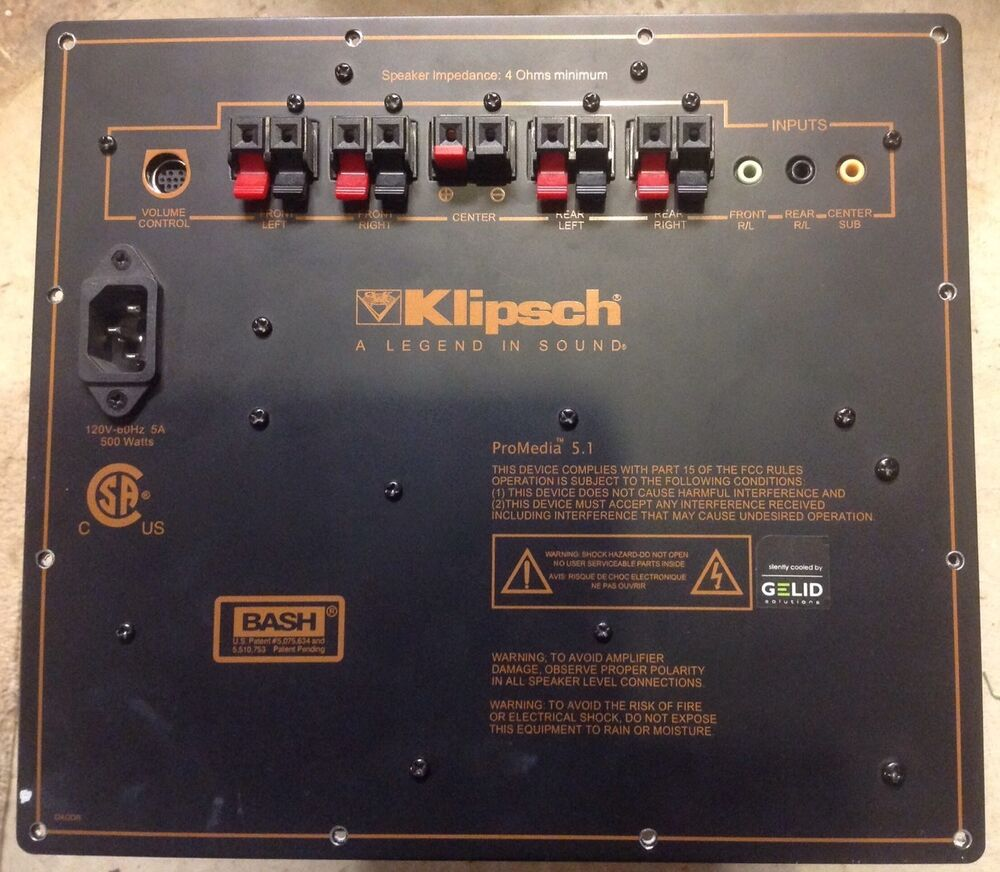 Amplifier KLIPSCH 5.1 ProMedia THX Computer Speaker upgraded cooled on