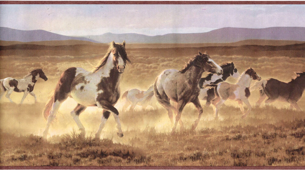 Details about Running Wild Horses Mustang Western Country Brown Wallpaper Border