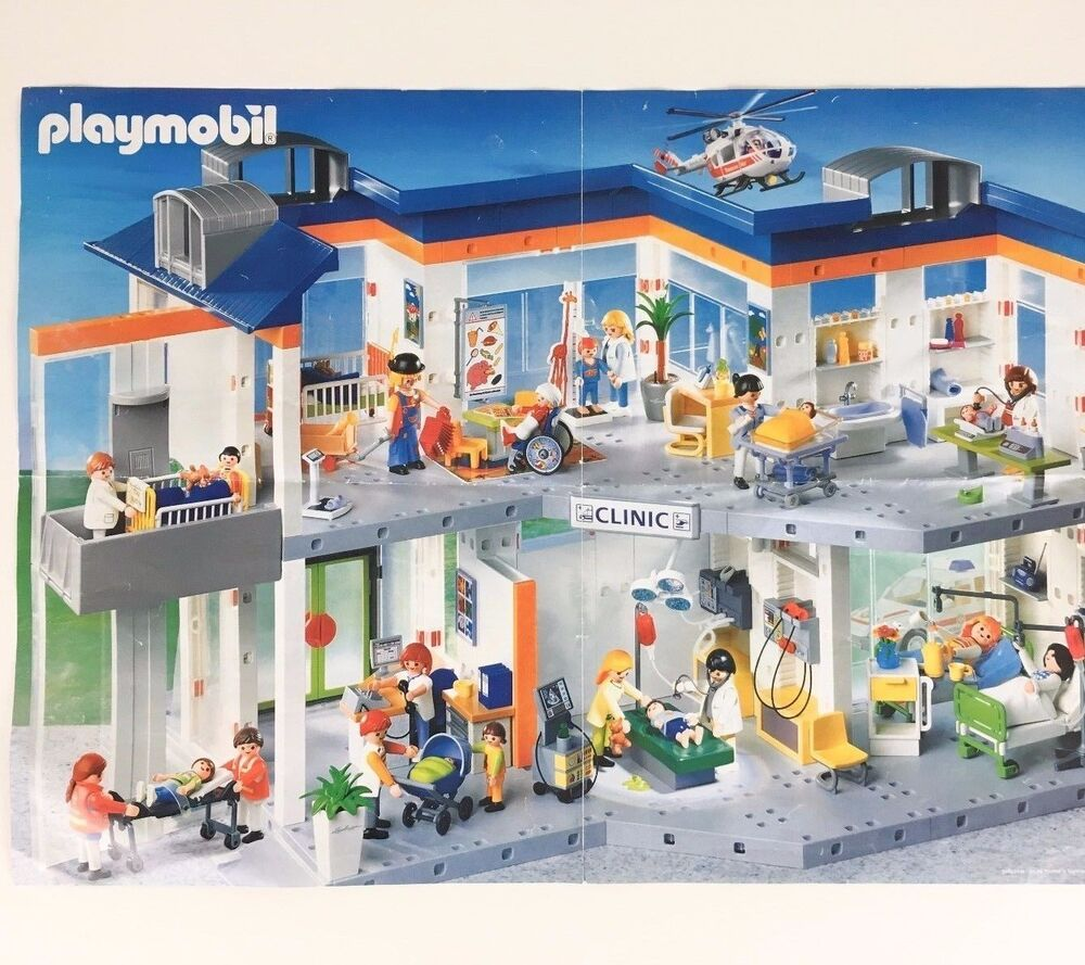 Playmobil 4404 hospital retired nearly complete w figures for Hospital de playmobil