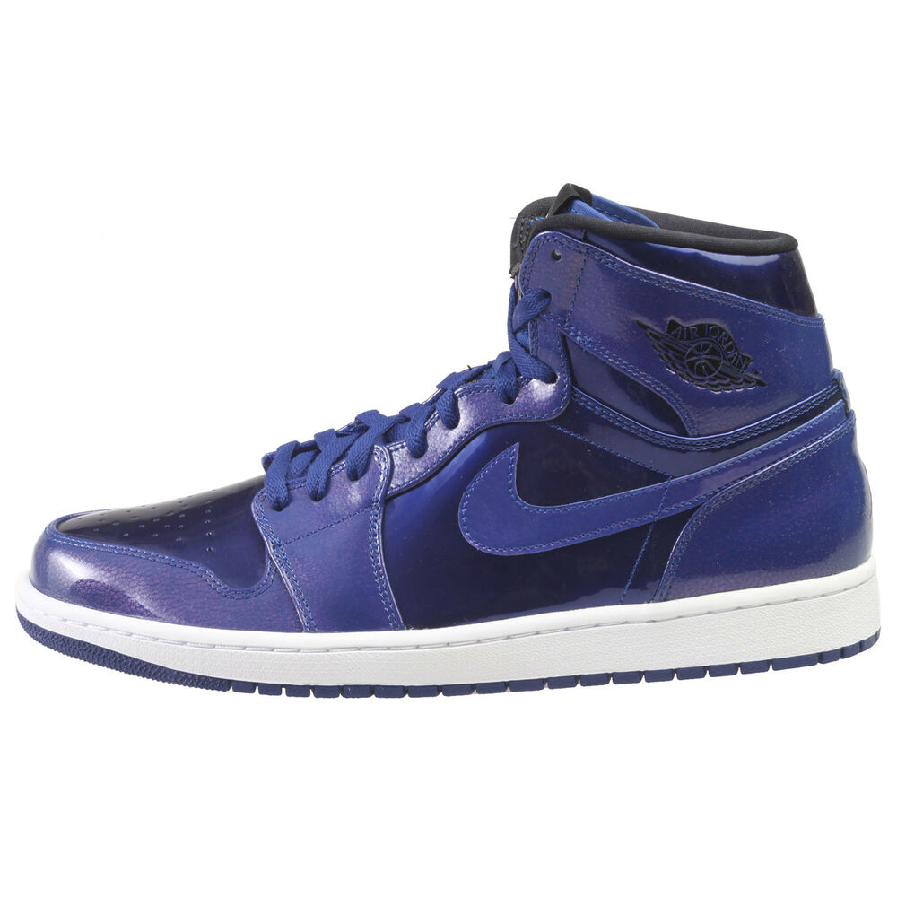 5c4dbd7cd3a989 Details about Air Jordan 1 Retro High Mens 332550-420 Deep Royal Patent  Leather Shoes Size 11
