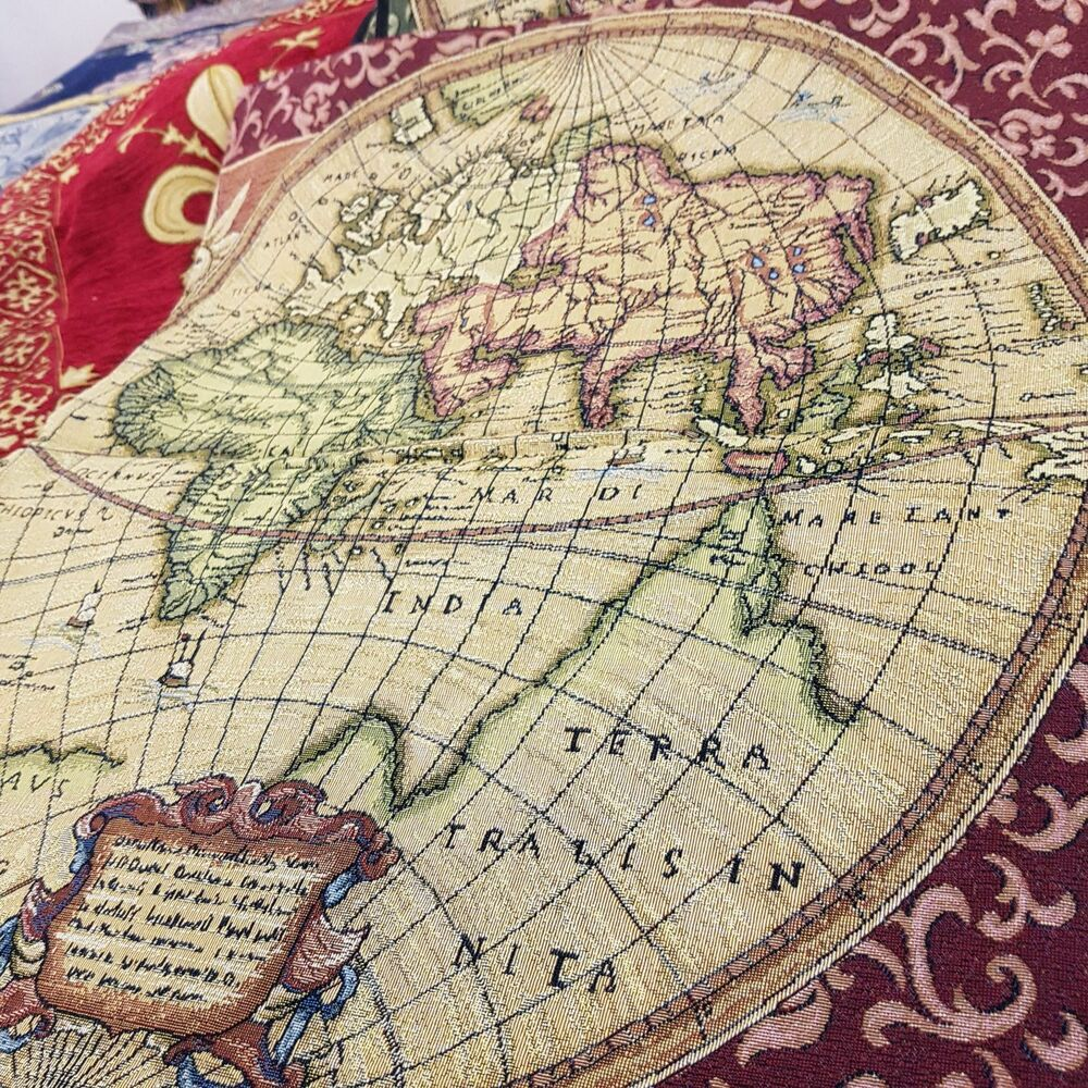 World Map Rug Ebay: Wall Carpet Tapestry Italy Old Map World Atlas Antique