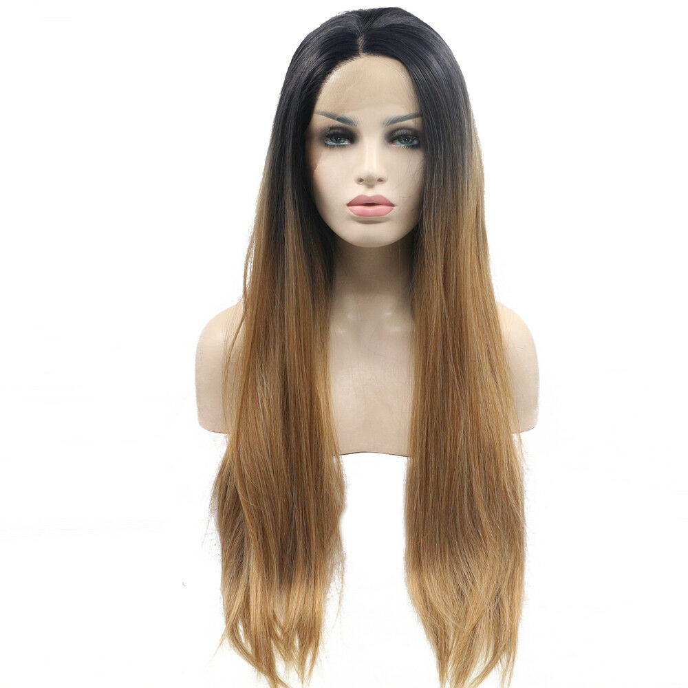 Details about CHEAP hair Wig fashion style makeup lace front women s wigs  BLACK OMBRE BLONDE 815bafb84d