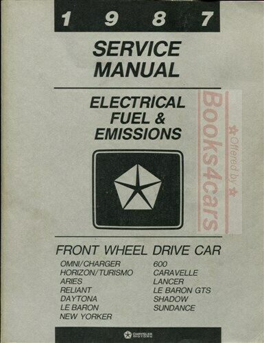 shop manual service repair 1987 book chrysler dodge plymouth ebay rh ebay com Repair Manuals Cartoon Manual