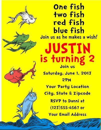 One Fish Two Fish Dr Seuss Birthday Party Invitations Personalized
