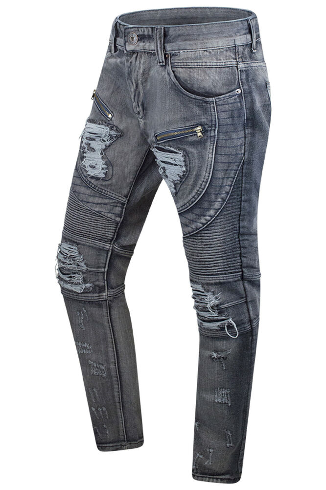 3ea34fe42f85 Details about New Men Denim Gray Jeans Premium Biker Zipper Distressed  Pants Sizes 32-42