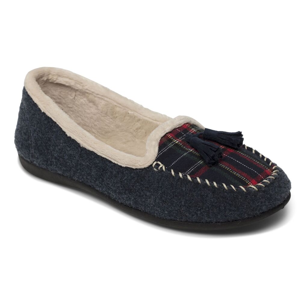 27694123b807 Padders TASSEL Ladies Womens Felt Wide (E Fit) Warm Lined Moccasin Slippers  Navy