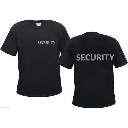 img-Security T-Shirt - Black - Reflective Print IN Silver - Doorman File