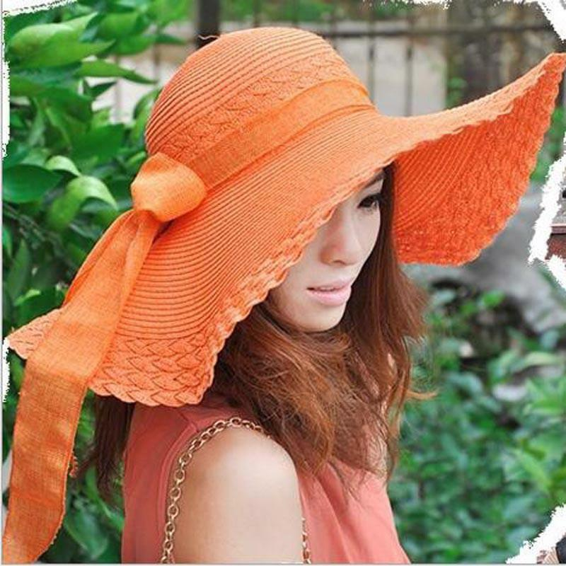 5987f6ae1aa Details about Women Hats Wide Large Brim Floppy Summer Beach Straw Caps Bow  Sunscreen Protect