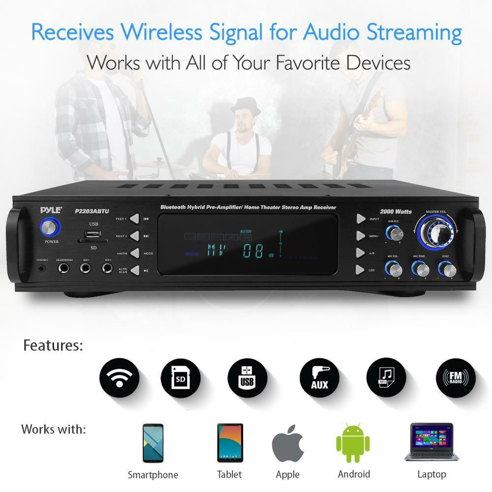 Pyle Bluetooth Hybrid Pre Amp Amplifier Home Theater Stereo Receiver Laptop Audio Usb Mp3 Fm 68888767613 Ebay