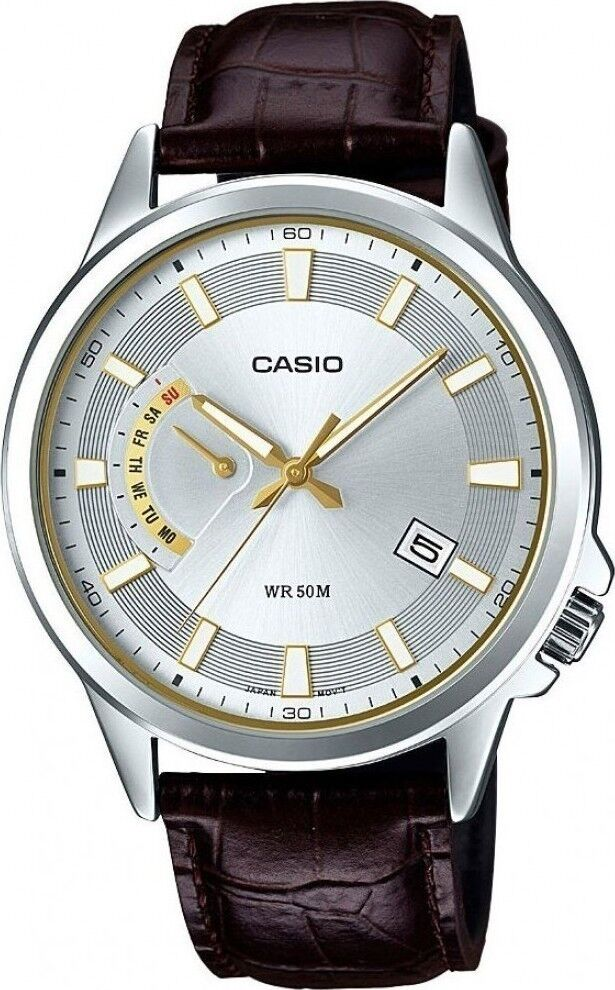 09cbc914dfc NEW Casio MTP-E136L-7A Men s BROWN Genuine Leather Watch SILVER Analog  Day Date