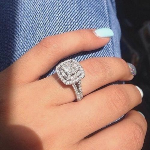 3 20ct Double Halo Princess Cut White Diamond Engagement