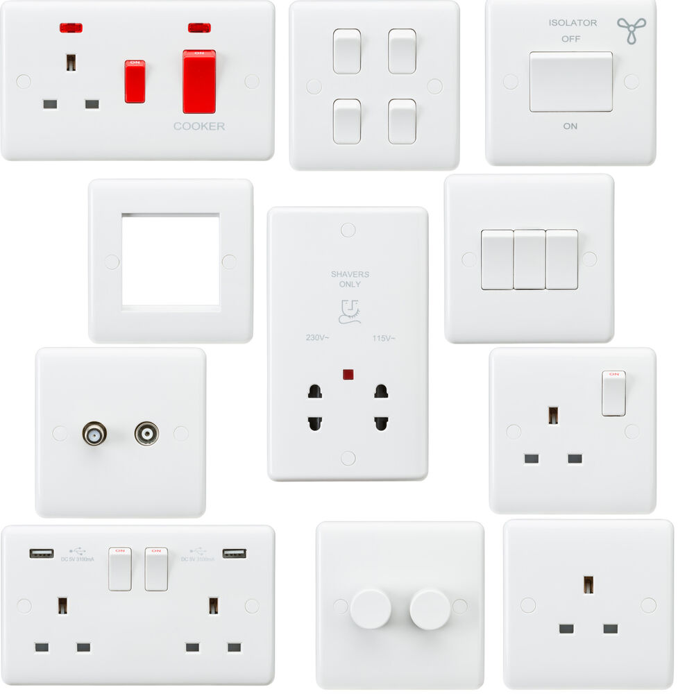 White Curved Edge Wiring Accessories Socket Switch Usb Spur Dimmer A Media Modular Ebay