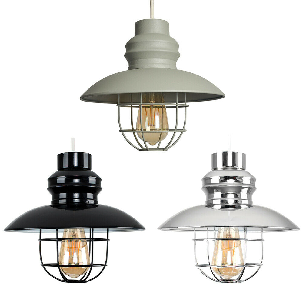 vintage industrial style metal fishermans cage ceiling pendant light lamp shades ebay. Black Bedroom Furniture Sets. Home Design Ideas